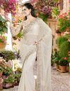 image of Beige Color Festive Wear Silk-Chiffon Fabric Designer Saree