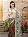 image of Embroidered Net-Georgette Fabric Designer Saree in Brown-Cream Color