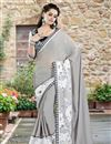 image of Grey Color Embroidered Designer Saree in Georgette-Net Fabric