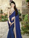image of Blue Color Embroidered Designer Saree in Silk-Georgette Fabric