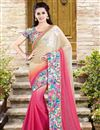 image of Chiffon-Net Fabric Designer Saree in Pink-Cream Color with Embroidery