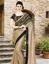 image of Beige-Black Color Festive Wear Silk-Georgette Fabric Designer Saree