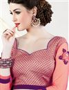 photo of Beige-Pink Color Festive Wear Lycra-Net Fabric Designer Saree