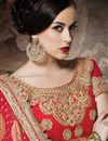 photo of Wedding Wear Chikoo-Red Color Net-Georgette Embroidered Designer Saree