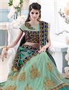 photo of Sky Blue Art Silk-Net Party Wear Designer Saree-39