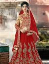image of Embroidered Red Color Designer Net Fabric Lehenga Choli
