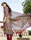 photo of Cream-Pink Digital Printed Silk Salwar Kameez