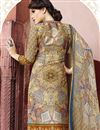 photo of Cream Party Wear Digital Print Salwar Kameez