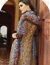 photo of Beige Digital Printed Silk Salwar Kameez