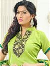 photo of Green Color Party Wear Straight Cut Chanderi Jacquard Salwar Kameez