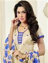 photo of Printed Party Wear Chanderi Jacquard Salwar Kameez in Cream Color