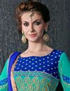 photo of Cyan Color Long Length Embroidered Georgette Dress Material