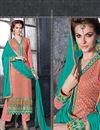 photo of Peach Color Long Length Designer Georgette Salwar Kameez