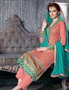 image of Peach Color Long Length Designer Georgette Salwar Kameez