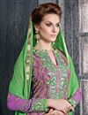 photo of Designer Pink Color Straight Cut Georgette Salwar Kameez