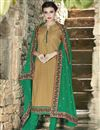 image of Cream Color Designer Party Wear Cotton Salwar Kameez with Embroidery