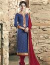 image of Blue Color Straight Cut Designer Cotton Dress Material