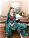 photo of Teal Color Cotton And Satin Palazzo Salwar Suit