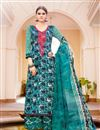 image of Teal Color Cotton And Satin Palazzo Salwar Suit
