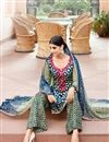 photo of Mehendi Green And Blue Color Magnetic Cotton And Satin Palazzo Suit