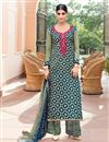 image of Mehendi Green And Blue Color Magnetic Cotton And Satin Palazzo Suit