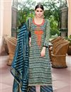 image of Mehendi Green Color Cotton And Satin Palazzo Salwar Suit
