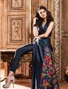 photo of Party Wear Long Length Silk Fabric Salwar Suit in Navy Blue Color