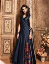 image of Party Wear Long Length Silk Fabric Salwar Suit in Navy Blue Color