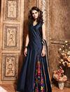 image of Silk Fabric Long Length Designer Salwar Suit in Navy Blue Color
