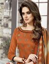 photo of Orange Color Embroidered Party Wear Chanderi Cotton Unstitched Salwar Suit