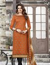 image of Orange Color Embroidered Party Wear Chanderi Cotton Unstitched Salwar Suit