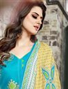 photo of Chanderi Cotton Designer Sky Blue Color Straight Cut Unstitched Salwar Kameez With Embroidery Work