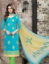 image of Chanderi Cotton Designer Sky Blue Color Straight Cut Unstitched Salwar Kameez With Embroidery Work