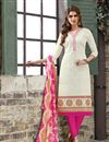 image of Elegantly Embroidered Party Wear Off White Color Chanderi Cotton Unstitched Designer Suit