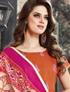 photo of Party Wear Designer Chanderi Cotton Unstitched Salwar Suit With Embroidery In Orange Color