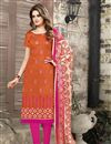 image of Party Wear Designer Chanderi Cotton Unstitched Salwar Suit With Embroidery In Orange Color