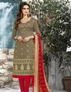 image of Beige Color Designer Chanderi Cotton Unstitched Embroidered Suit With Lace Work