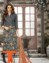 image of Straight Cut Party Wear Grey Color Chanderi Cotton Unstitched Salwar Kameez