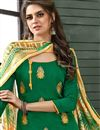 photo of Designer Green Color Embroidered Unstitched Salwar Kameez In Chanderi Cotton Fabric