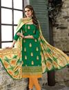 image of Designer Green Color Embroidered Unstitched Salwar Kameez In Chanderi Cotton Fabric