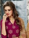 photo of Elegantly Embroidered Party Wear Pink Color Chanderi Cotton Unstitched Designer Suit