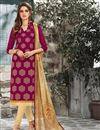 image of Elegantly Embroidered Party Wear Pink Color Chanderi Cotton Unstitched Designer Suit