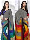 image of Stylish Set of 2 Fancy Print Crepe Silk Sarees