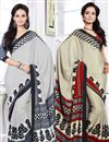 image of Pretty Collection of 2 Printed Crepe Silk Saris