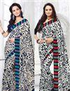image of Beautiful Set of 2 Printed Crepe Silk Sarees
