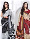 image of Set of 2 Fancy Print Crepe Silk Sarees