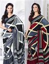 image of Pack of 2 Casual Crepe Silk Printed Sarees