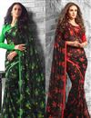 image of Opulent Casual Wear Fancy Print Set of 2 Georgette Sarees