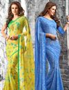 image of Ornate Fancy Print Georgette Fabric Combo of 2 Sarees