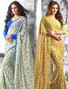image of Enamoring Set of 2 Floral Print Sarees in Georgette Fabric